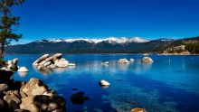 Lake Tahoe near Sand Harbor with mountains in background